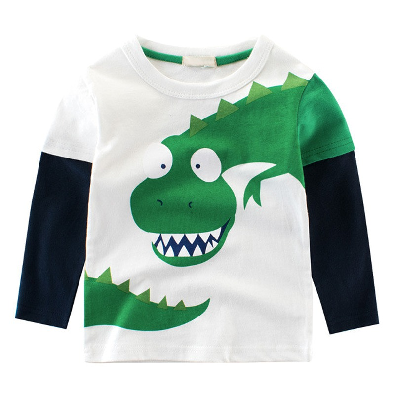 Autumn Baby Boy T-shirt Baby Long-Sleeved Round Neck Pullover Cartoon Dinosaur Long-Sleeved Shirt Baby Clothes beige see through lace details star round neck t shirt