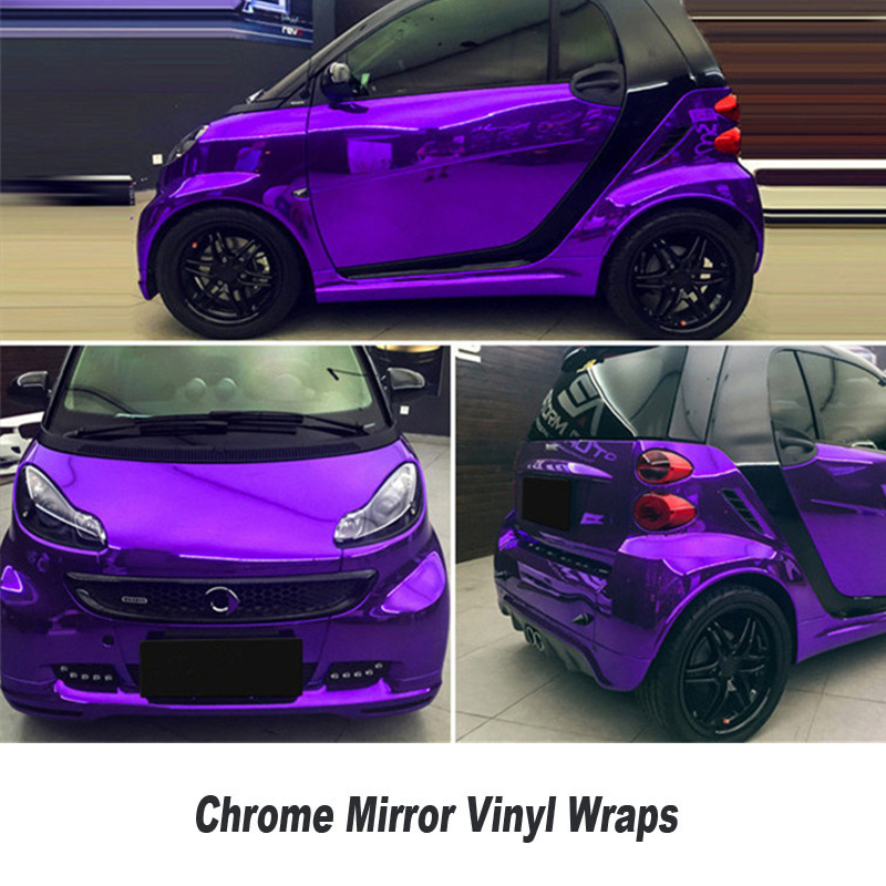Chrome Violet mirror Vinyl Film Car Body Wrap Purple mirror wraps With Air Drain Technology for Bubble Free 5ft X 65ft/Roll high quality black glossy 2d carbon fiber vinyl air free bubble for vehicle wraps size 1 52 30m roll