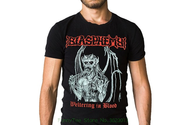 d2a4538d9dd4 Blasphemy Weltering In Blood Black Metal Skinheads T shirt-in T ...