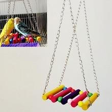 Птичка для домашних животных длиннохвостый попугай буджи Cockatiel деревянная клетка гамак качели Висячие игрушки(Размер: один размер