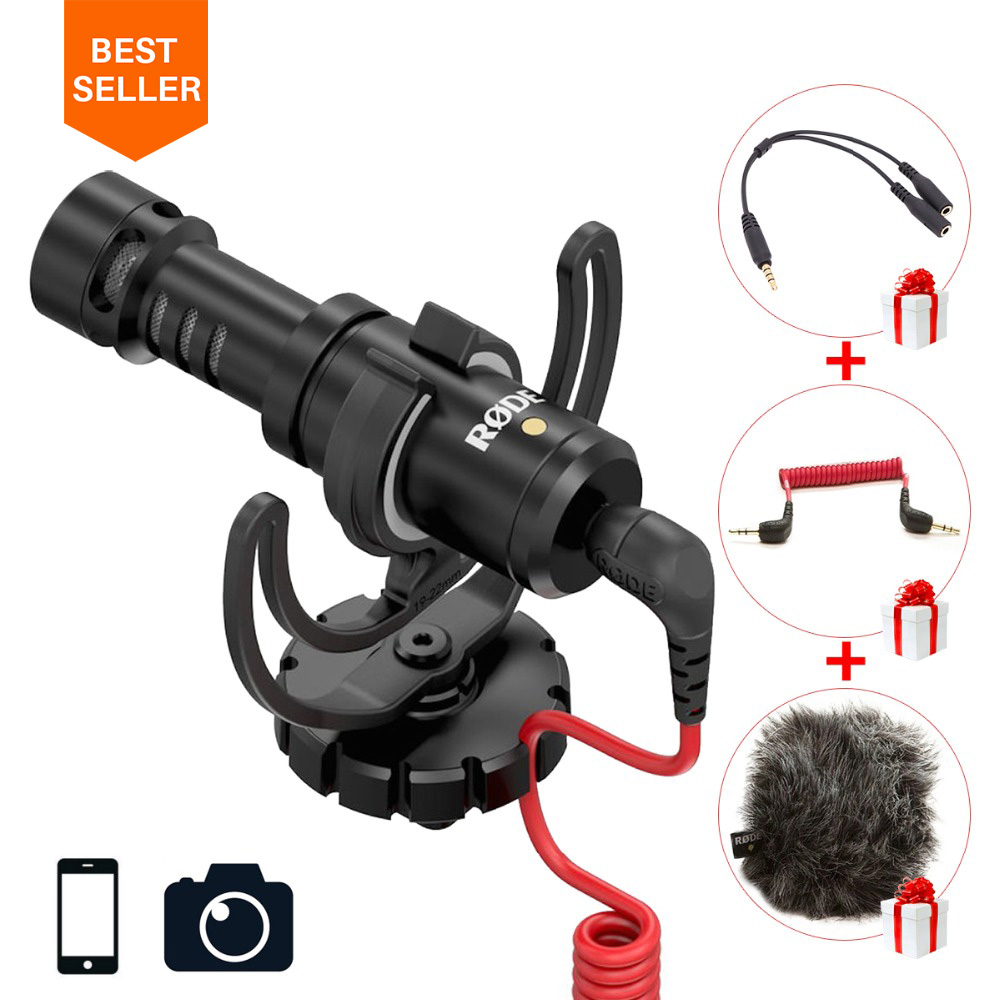 Ulanzi Original Rode VideoMicro On-Camera Microphone for Canon Nikon Lumix Sony Smartphones Free Windshield Muff Adapter Cable