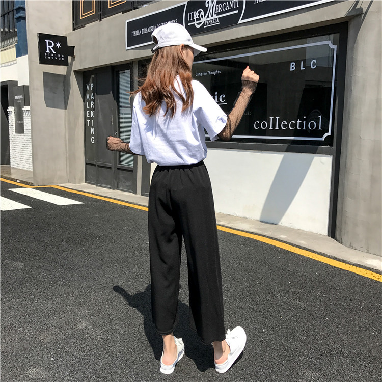 19 Women Casual Loose Wide Leg Pant Womens Elegant Fashion Preppy Style Trousers Female Pure Color Females New Palazzo Pants 35