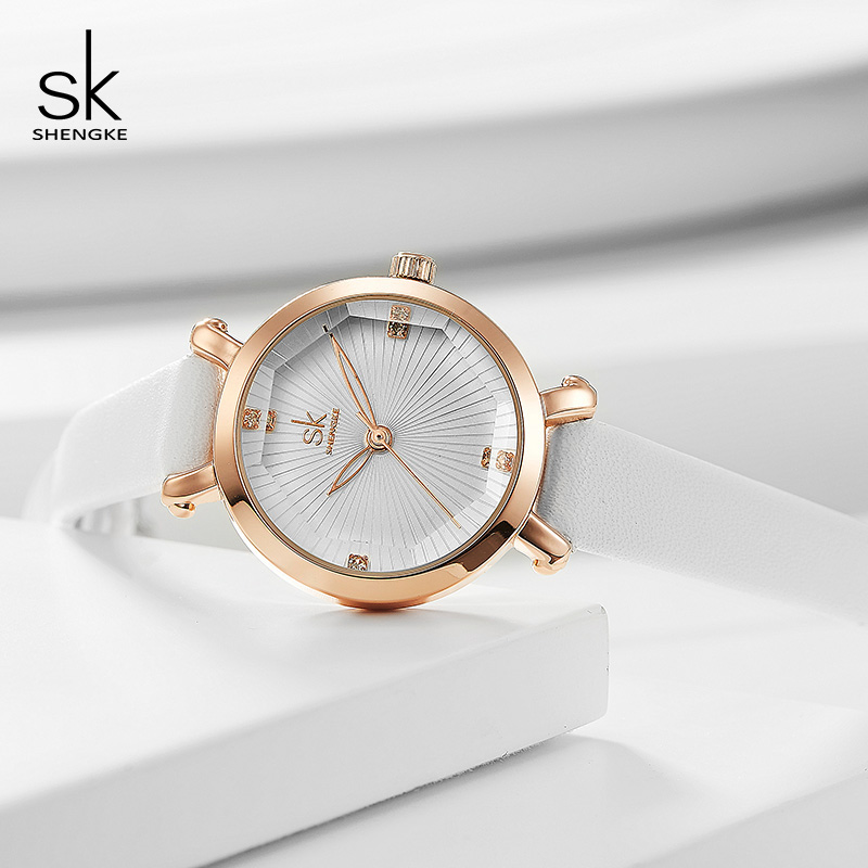 Shengke Small Round Dial Ladies Watches Fashion Leather Women Quartz Watch Reloj Mujer 2019 SK Watches Women's Day Gifts