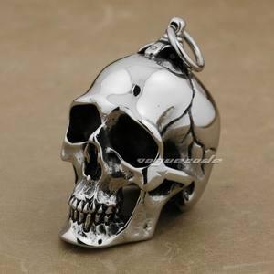 Image 5 - LINSION ogromny ciężki stal nierdzewna 316L polerowany wisiorek z czaszką mężczyzna Biker Rock Punk Style AJ001 naszyjnik ze stali 24 cali