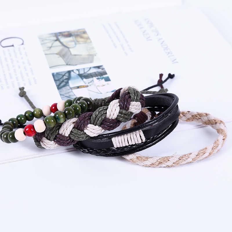 4 pçs/set Multilayer Weave Envoltório Corda de Madeira Do Grânulo Pulseira De Couro Dos Homens Do Vintage Pulseiras & Bangles Jóias Para As Mulheres o Transporte Da Gota