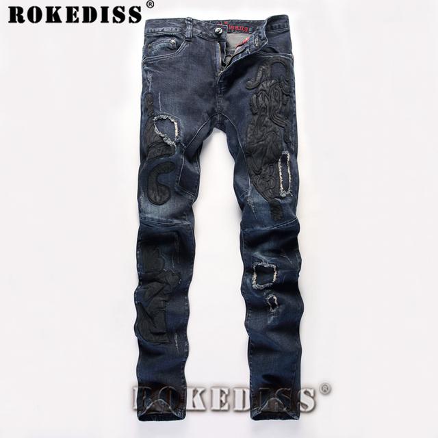 Los hombres pantalones vaqueros de hip hop baggy biker casual primavera otoño nueva elasticidad bordado empalme macho pantalones rectos dsq c158