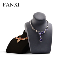 FANXI Fashion Black Necklace Display Stand Horizontal Mannequin Model Necklace/Pendant Bust Holder Jewelry Expositor