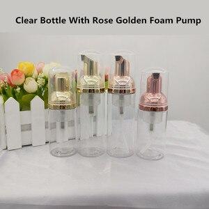 Image 1 - 10 adet 30 60ml plastik köpük pompa şişesi boş yüz Lashes temizleyici kozmetik şişe sabunluk köpük şişesi gül altın köpük