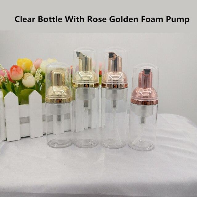 10 adet 30 60ml plastik köpük pompa şişesi boş yüz Lashes temizleyici kozmetik şişe sabunluk köpük şişesi gül altın köpük