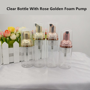 Image 1 - 10ps 30 60ml plástico foamer bomba garrafa rosto vazio cílios limpador cosmético garrafa dispensador de sabão espuma rosa espuma dourada