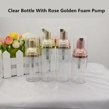 10ps 30 60ml plastikowa butelka z pompką do spieniania pusta butelka do mycia twarzy butelka kosmetyczna dozownik do mydła butelka piankowa róża złota pianka