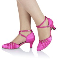 Comfortable Pink Brown Tan Salsa Zapatos de baile heel height 4.5 8.5 cm Ballroom Dance Shoes Closed Toe For Women JYG885