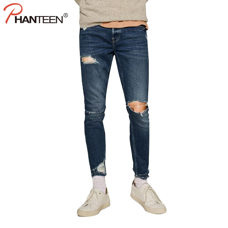 Phanteen Slim Fit Vantage Washed Men Jeans Elastic Ripped Skinny Casual Street Style Pencil Jeans Fashion
