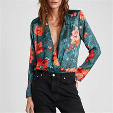Women style floral shirt print bodysuit long sleeve playsuit elastic waist retro