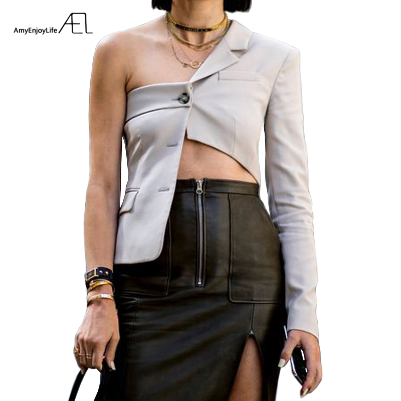 AEL Woman Off Shoulder Jacket Top Fashion Irregularity Blazer Female Sexy 2019 New Streetwear Summer Spring Ladies Clothing