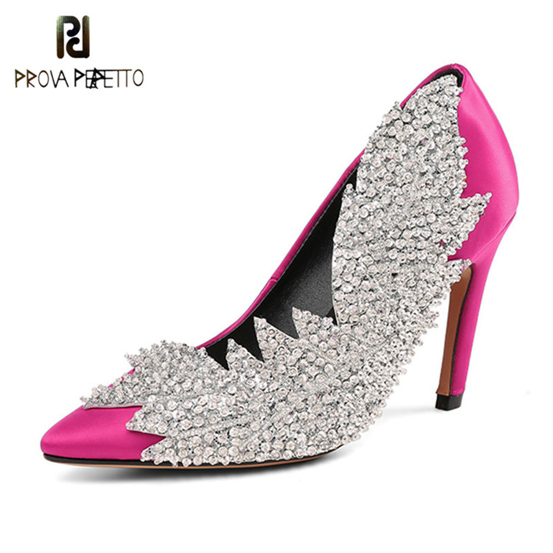 Prova Perfetto BlingBling Women Shoes High Heels Stilettos Green Shoes Woman Rhinestone Pointed Toe Sexy High Heel Pumps 34-43 prova perfetto new women pumps high heels rhinestone flower wedding shoes woman sexy high heels party shoes sweet princess shoes