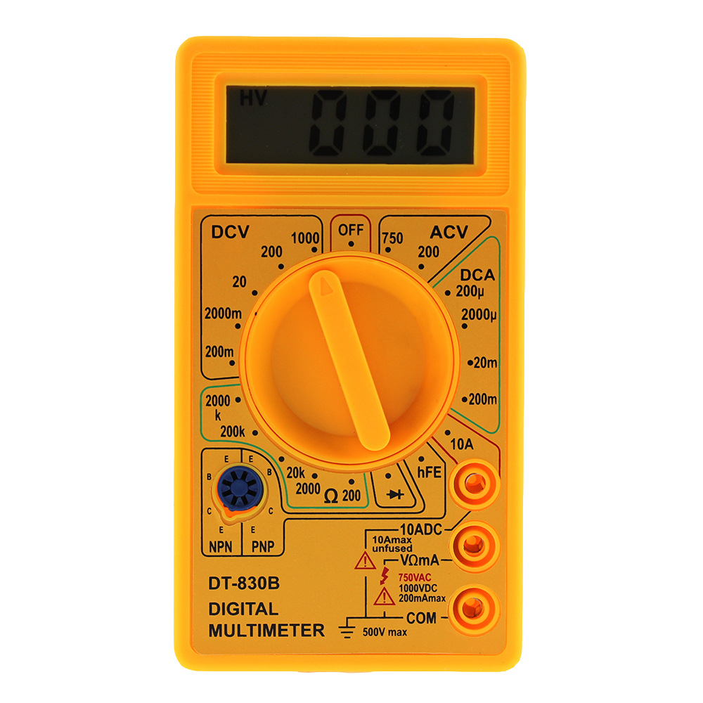 Brand New Yellow Digital Display Multimeter Backlight LCD Screen High Quality Voltage Tester Portable Voltmeter