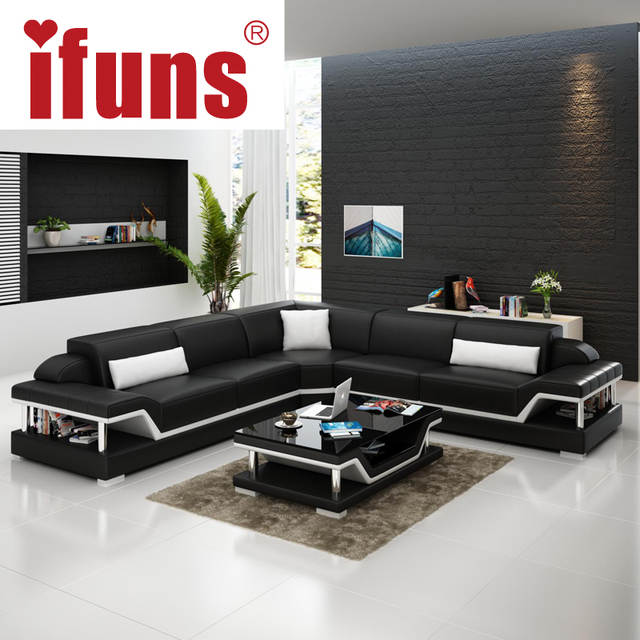 Online Shop Ifuns L Shape Corner White Cow Leather Chesterfield Sofa