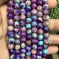 Очаровательные синие фиолетовые бусины Jaspe r, морской камень из осевой породы, круглые бусины 4 мм 6 мм 8 мм 10 мм, свободные бусины для ювелирны...