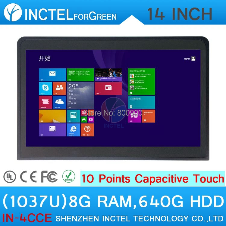 All in one pc Industrial computer celeron 1037u with 10 point touch capacitive touch 8G RAM 640G HDD with HDMI 2*RS232 14 inch oem touch screen all in one pc industrial embedded computer 8g ram 512g ssd 1tb hdd with intel celeron 1037u 1 8ghz cpu