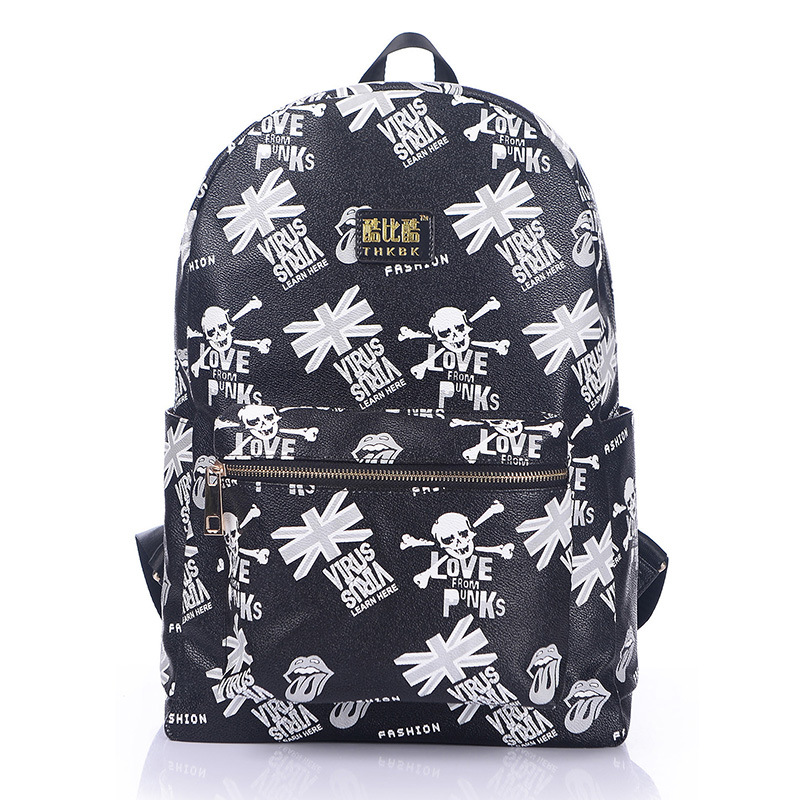 Women New Style Skull Head Virus Union Jack British Flag Printed Bag Students Travel Girls Punk Backpack цены онлайн