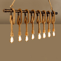 Hemp rope pendant light vintage personality oft bar table water pipe decoration lamp