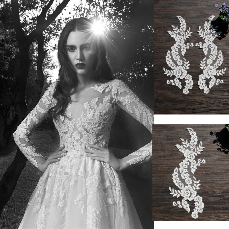 5 pairs ivory cotton floral lace applique pair for wedding dress bodice , headpiece bridal flower wholesale