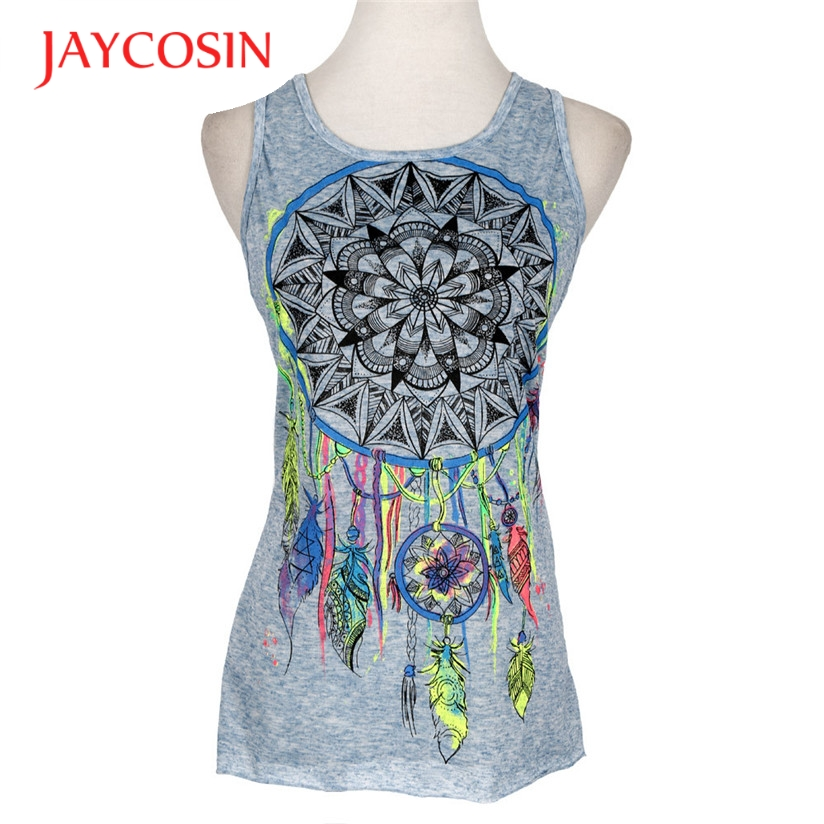 Hot Marketing Sexy Women Dreamcatcher Prited Sleeveless Shirt Tank Vest Tops T-Shirt t shirt women femme blusa H31