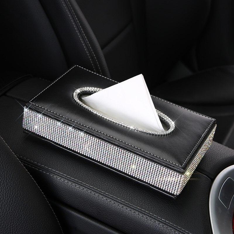 Шикарная Хрустальная автомобильная коробка для салфеток, роскошный бумажный чехол из искусственной кожи, автомобильный держатель, чехол, лоток для дома, офиса, автомобиля