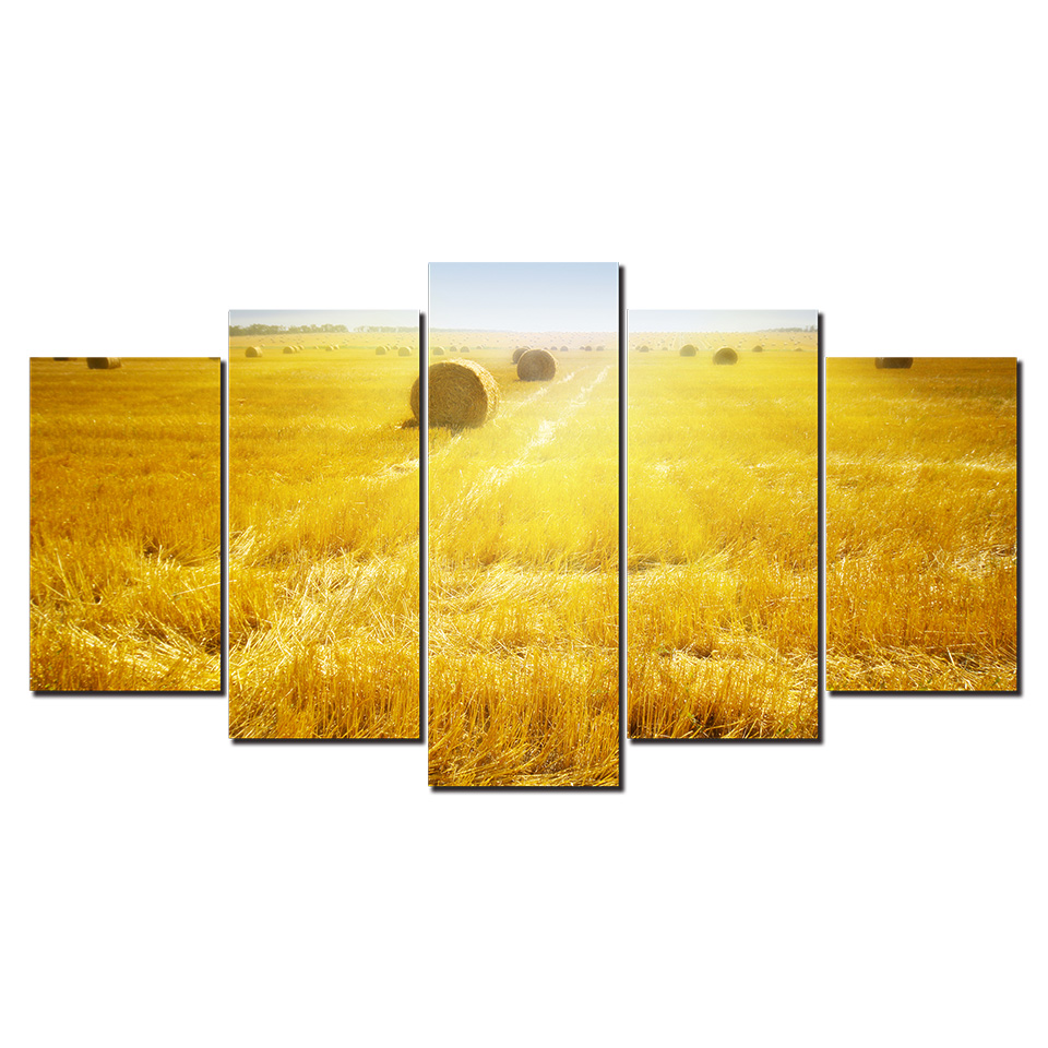 5 Pieces Wheat field Wall Art Picture Modern Home Decoration Living Room Or Bedroom Canvas Print Painting Wall Picture