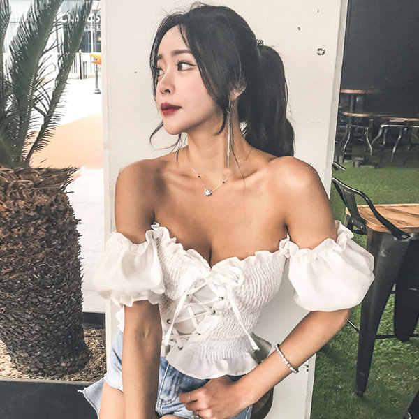 2019 Новое поступление Boho Сексуальный летний укороченный топ женские топы и блузки пышные рукава с открытыми плечами на шнуровке пляжный рубашка blusa feminina