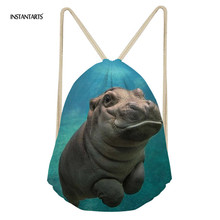 INSTANTARTS 2019 Fashion 3D Print Boys Small Drawstring Bag Cute Hippo Pattern School Shoulder Backpacks Teen Boys Girls Satchel