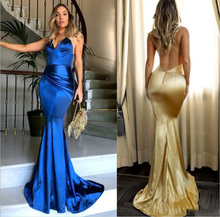 Simple Sexy V Neck Gold Mermaid Prom Dresses Backless Spaghetti Strap Custom Made Long Evening