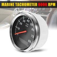 12/24V 0~8000rpm Boat Tachometer Marine Tacho Meter Gauge LCD Waterproof Hourmeter RPM 85mm Boat Accessories