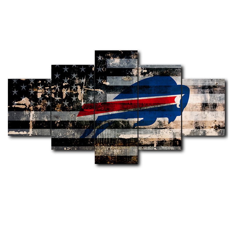 US $7 44 38% OFF Poster Wall Frame Printing Modern Art Modular Picture Home  Decor 5 Panel Buffalo Bills Sports Logo Living Room Canvas Painting-in