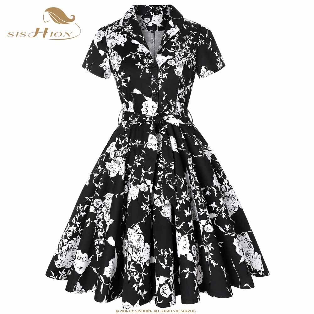 62562d88be45f SISHION 50s 60s Retro Vintage Dress Short Sleeve Car and Beauty Pattern  Floral Print Elegant Women Plus Size Autumn Dress SD0002