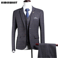 AIMENWANT Plaid Grey Suit Vintage Fitted Tailored Blazer For Men Single Breasted Blazer Suits Free Shipping Formal clothing