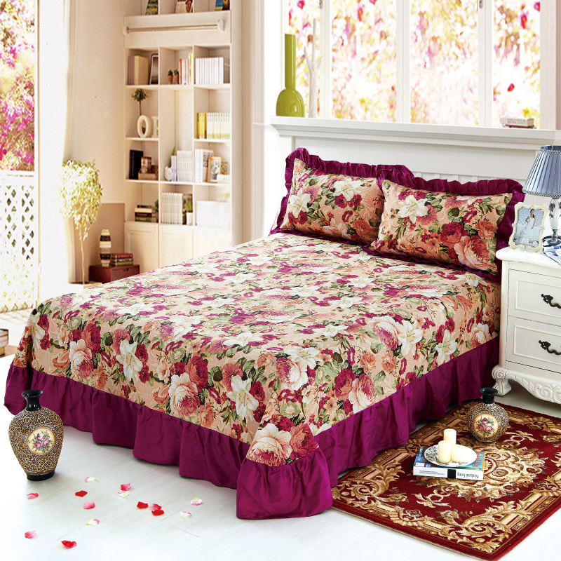 100% Pure Cotton Ruffled Soft Bed Sheet Purple Floral Large Bedsheet Queen King Size Bedsheet With Two Pillow Covers Flat Sheet
