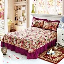 100% de algodón puro con volantes suave sábana de cama púrpura floral gran sábana de cama tamaño Queen King con dos fundas de almohada sábana plana