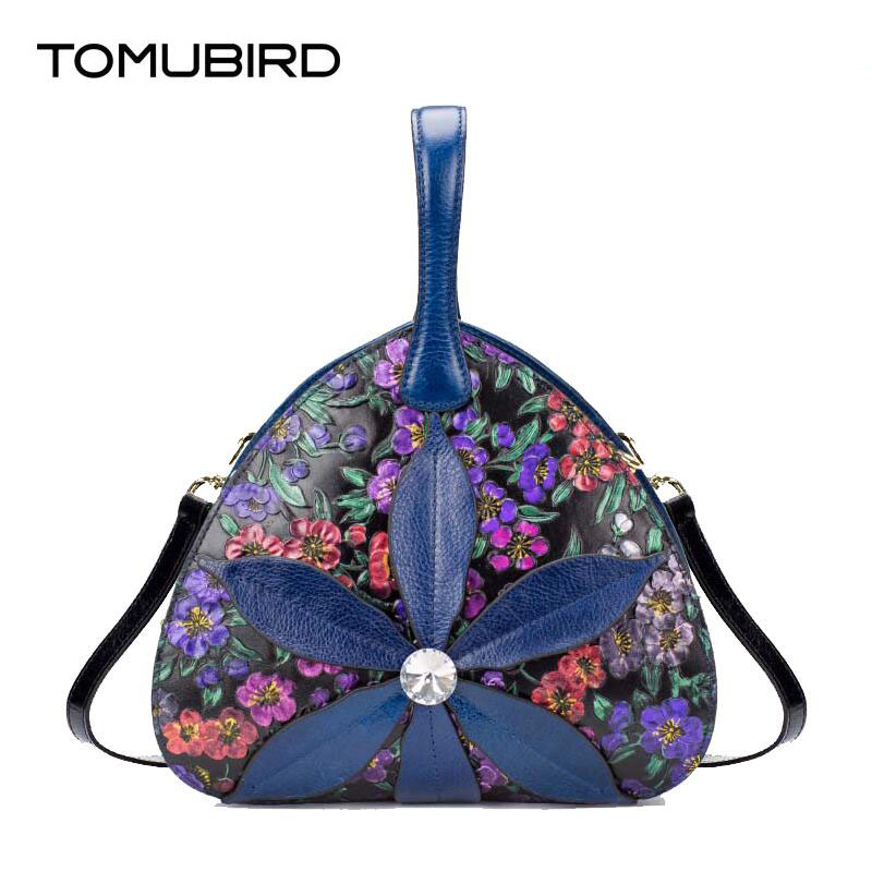 TOMUBIRD superior genuine leather designer brand women bags fashion Flowers embossed Real leather Personalized luxury handbags