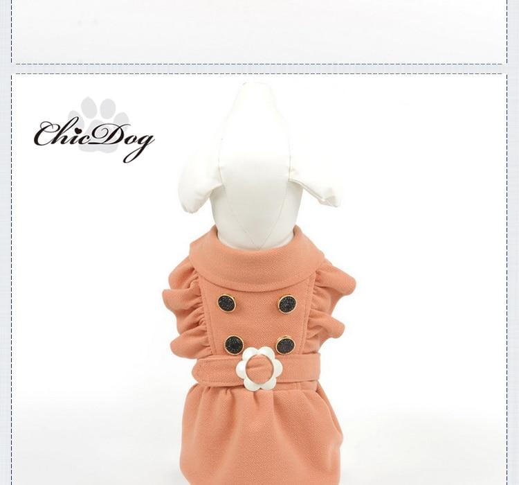 Manteau très chic pour Chien et chiot avec bouton et ceinture fleur