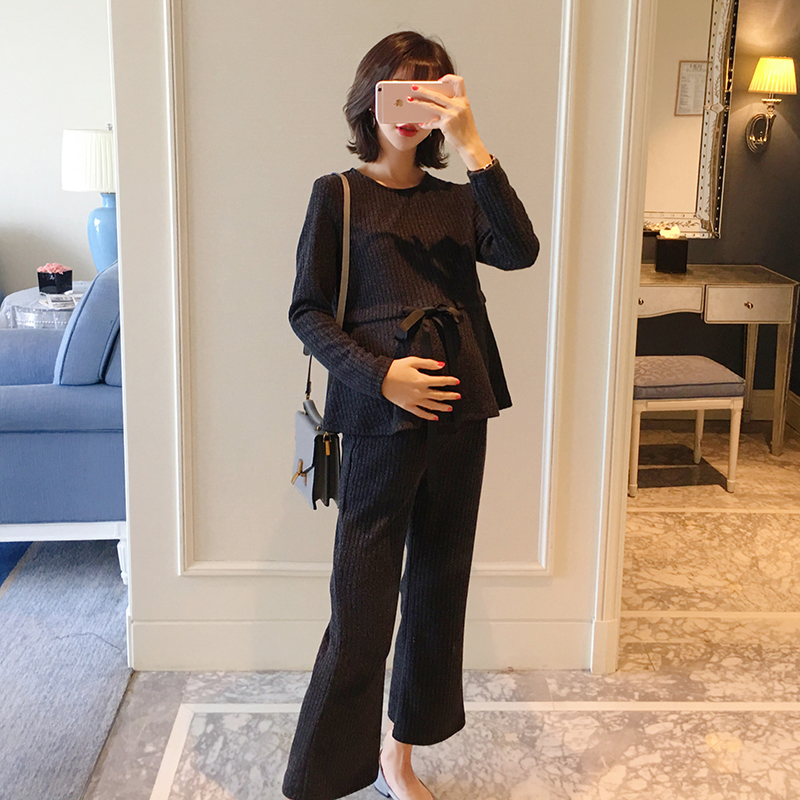 Autumn maternity dress set 2018 fashion new waist tie Korean version of the loose two-piece out of the wide leg scallop hem tie waist wide leg pants