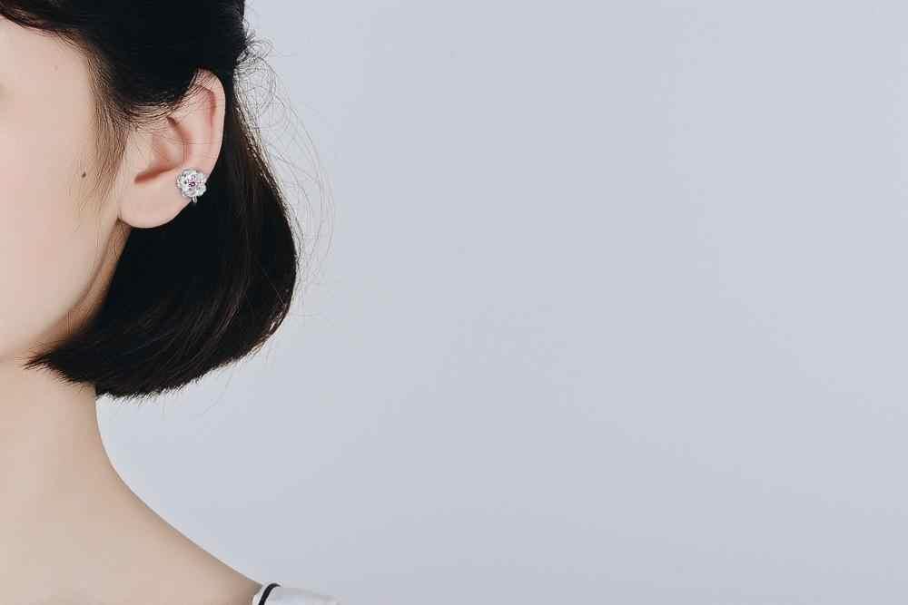 الحلو الكرز زهرة تألق مكعب زركونيا الإناث هدية عيد ميلاد 925 فضة سيدة أقراط مشبكية والمجوهرات لا تتلاشى رخيصة