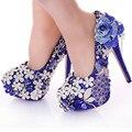 2017 Azul de Cristal Zapatos de Vestido de Boda Del Pavo Real Magnífico Zapatos Discoteca Vestido de Fiesta Zapatos de Tacón Alto Zapatos de Vestido de Novia