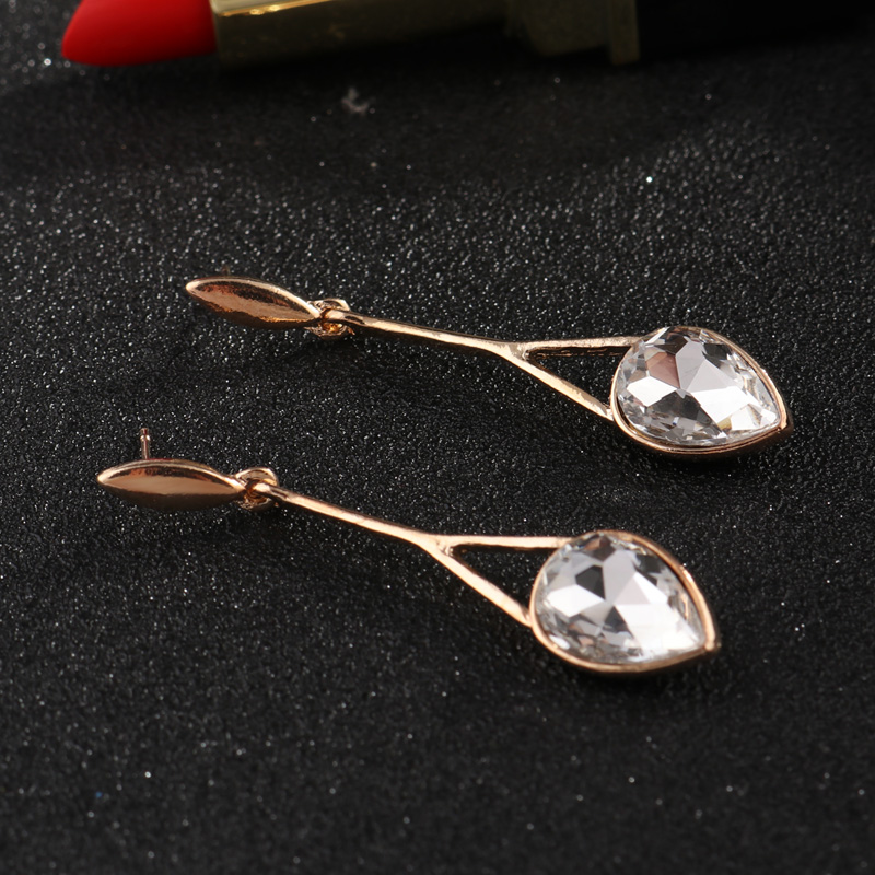 Tenande New Fashion Gold Color Big Hollow Water Droplets Crystal Dangle Earrings for Women Party Jewelry Gift Bijuterias Penient