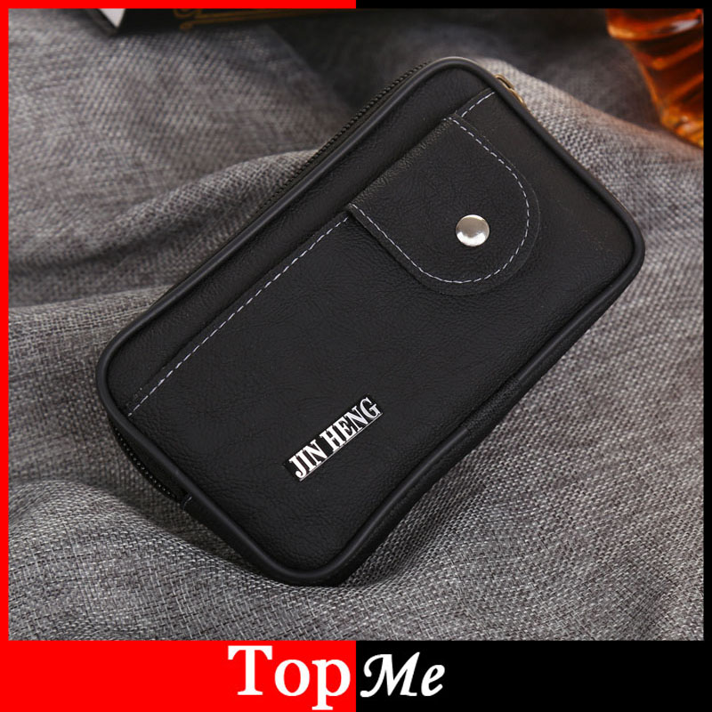 Men Fanny Pack Male Brown Black PU Leather Zipper Hasp Coin Purse Burse Good Quality Bag Casual Waist Packs Mobile Phone Bags