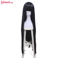 L Email Wig Color Black Cosplay Wigs Blunt Bangs 100cm 39 4inches Long Straight Heat Resistant