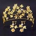 Flor de oro Hojas de Novia Tiaras Con Pendientes de La Vendimia de la Joyería Nupcial Del Pelo Del Rhinestone Coronas Novia de La Boda Celada
