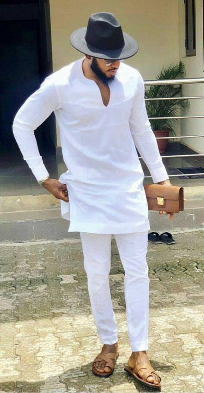 African Clothes Man Shirts With Pants Fashion White Tops+Trousers Custom Made Men's Outfits African Pant Set For Party