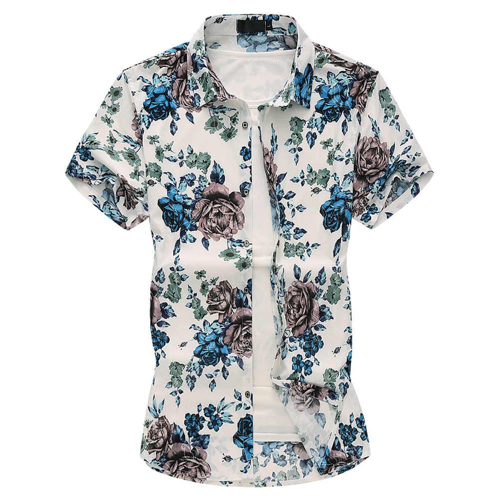 2019 夏男性のカジュアルハワイの花シャツファッションパターン半袖男性服トレンドビーチシャツ大サイズ M-7XL